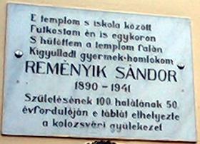 Reményik Sándor-emléktábla